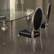 Italian Glass Dining Table Italian Designer Oval Glass Dining Table And Chairs Set