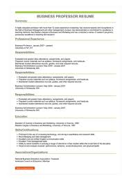 Sample Professor Resume Sample Business Professor Resume
