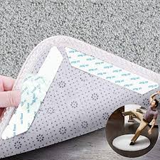 enhanced edition rug grippers 12 pcs slip carpet gripper best anti curling rug slip grip with reusable flooring rug tape for indoor outdoor carpets keeps