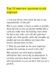 Good Questions To Ask The Interviewer Top 10 Interview Questions To Ask Employer