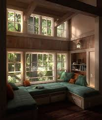 Picture Of Bay And Backyard View Windows : Cozy Room With Backyard View Window  Seats Cushions