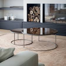 bronze heavy aged mirror round nesting coffee table set