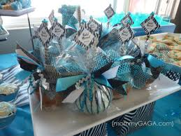 Cute Baby Shower Decorations Zebra Blue Unique Baby Shower Theme For Boys Table