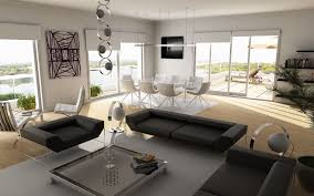 Living And Dining Room Decoration Grey Wall Color Interior Design In Modern Dining Room