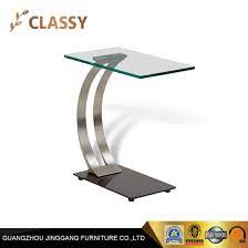small glass top and silver base side