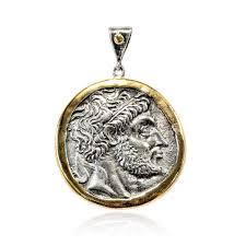 silver pendant vintage gold platedoxide greek coin zeus (xc