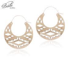 <b>Badu</b> Big Round Hoop <b>Earrings</b> Women <b>Frosted Gold</b> Hollowing ...