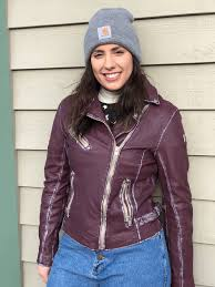 deep purple women s leather jacket by mauritius