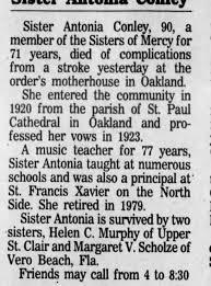 Sr. Antonia Conley death notice - Part I, Pittsburgh Press, Sat, 30 Nov.  1991, p. 20 - Newspapers.com