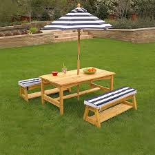 photo 3 of 11 com kidkraft outdoor table and chair set with cushions and navy stripes