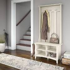 Entrance Coat Rack Bench White Hall Tree Bench Storage Entryway Coat Rack Seat Wood Shoe 78