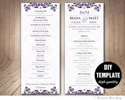 Microsoft Wedding Program Templates Purple Wedding Program Template Instant Download Microsoft Etsy