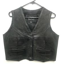 details about unik black genuine leather biker vest women s size xl ons motorcycle gear