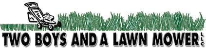 lawn mower logo png. two boys and a lawn mower llc logo png