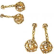antique chinese dragon pendant earrings gold diamonds openwork id 5417