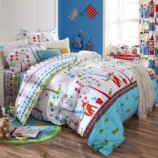 kids bedding twin sky blue white red and brown fox print jungle safari cartoon 12