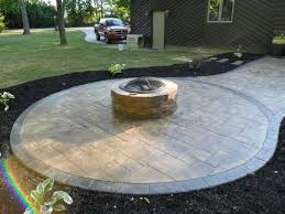 concrete patio with square fire pit. Fireplace Raised Paver Patio Square Concrete With Fire Pit And Acid Staining