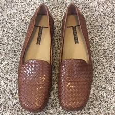 Trotters Liz Ladies Brown Leather Woven Flats