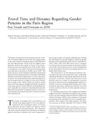 Travel Time And Distance Regarding Gender Patterns In The Paris