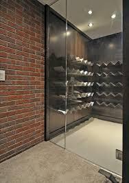 unique wine storage wine cellar contemporary with glass door exposed brick metal wine rack