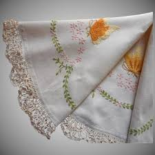round tablecloth topper antique hand embroidery coronation braid lace