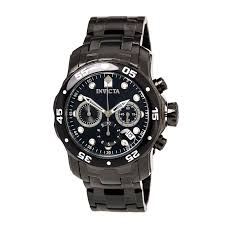 invicta pro diver watches on discount watch store invicta 0076 men s pro diver black dial black ip steel bracelet chronograph dive watch