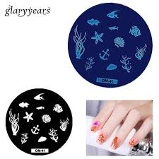 1 piece ocean nail art sting plate template starfish seas design image print transfer nail makeup manicure template om 41 in nail art templates from