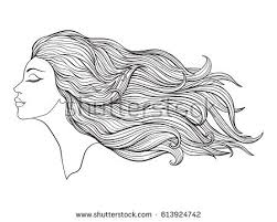 young beautiful with long hair stock line vector ilration outline drawing outline