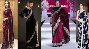 Latest Velvet Saree Designs Latest Velvet Fabric Saree Designs Ideas Embroidered Velvet Saree Designs Velvet Saree For Party
