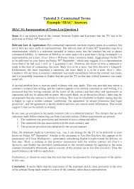 Example Of An Agreement Full Example Irac Answers For Tutorial 3 Contractual Terms