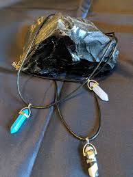 bullet drop crystal healing pendant necklace