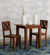 alder solid wood two seater dining set in provincial teak finish