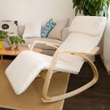 recliner chairs decorating ideas with unfinished wooden frames and raw wood arms grip white fabric cushioning