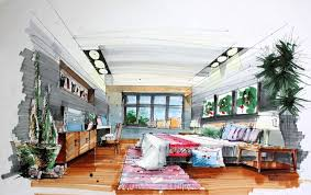 Interior Design Hand Drawings And Bedroom Hand Draw Interior Design
