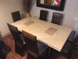 grand ivory solid marble dining table with six chairs from scs