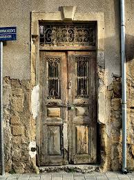 old wooden door at nicosia cyprus kitsakis