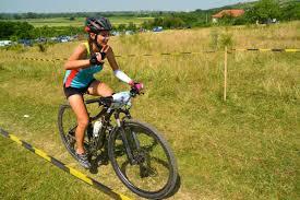 a riding a mountain bike