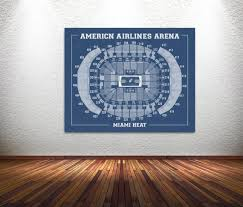 Vintage Print Of American Airlines Arena Seating Chart On Premium Photo Luster Paper Heavy Matte Paper Or Stretched Canvas Free Shipping