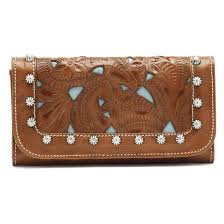 hand tooled women s trifold leather wallet double tap to zoom