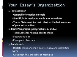 quick review thesis statement main idea of your essay topic  your essay s organization