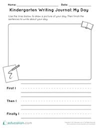 Kindergarten Writing Pages Kindergarten Writing Journal My Day Worksheet Education Com