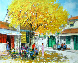 autumn season 2 lm oil on canvas painting by vietnamese artist lam manh