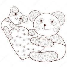 Panda Met Hart Kind Kleurplaat Fotoboekpagina Bruin Overzicht