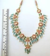 <b>Vintage Antique</b> 20k <b>Gold</b> Diamond Polki Kundan Necklace Tamil ...