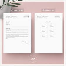 Richards Resume Modern Modern Clean One Page Resume Template Cv Template Cover Letter References For Ms Word Instant Digital Download Karen