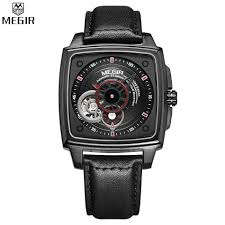 aliexpress com buy megir automatic mechanical wristwatch mens aliexpress com buy megir automatic mechanical wristwatch mens watch black leather belt square watches men luxury brand relogio masculino mg62042 from