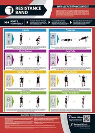 Resistance Tube Workout Chart Resistance Band Workout Professional Fitness Training Wall Chart Poster W Qr Code Posterfit