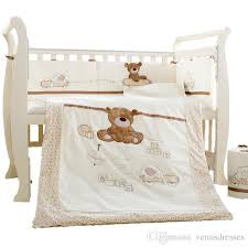 cotton baby cot bedding set newborn crib bedding detachable quilt pillow pers sheet cot bed linen 4 size boys double bedding sets comforter for boys from