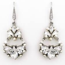 crystal pearl wedding chandelier earrings