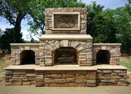 custom contractor series outdoor fireplace kit arched wood storage bo stone kits field plans